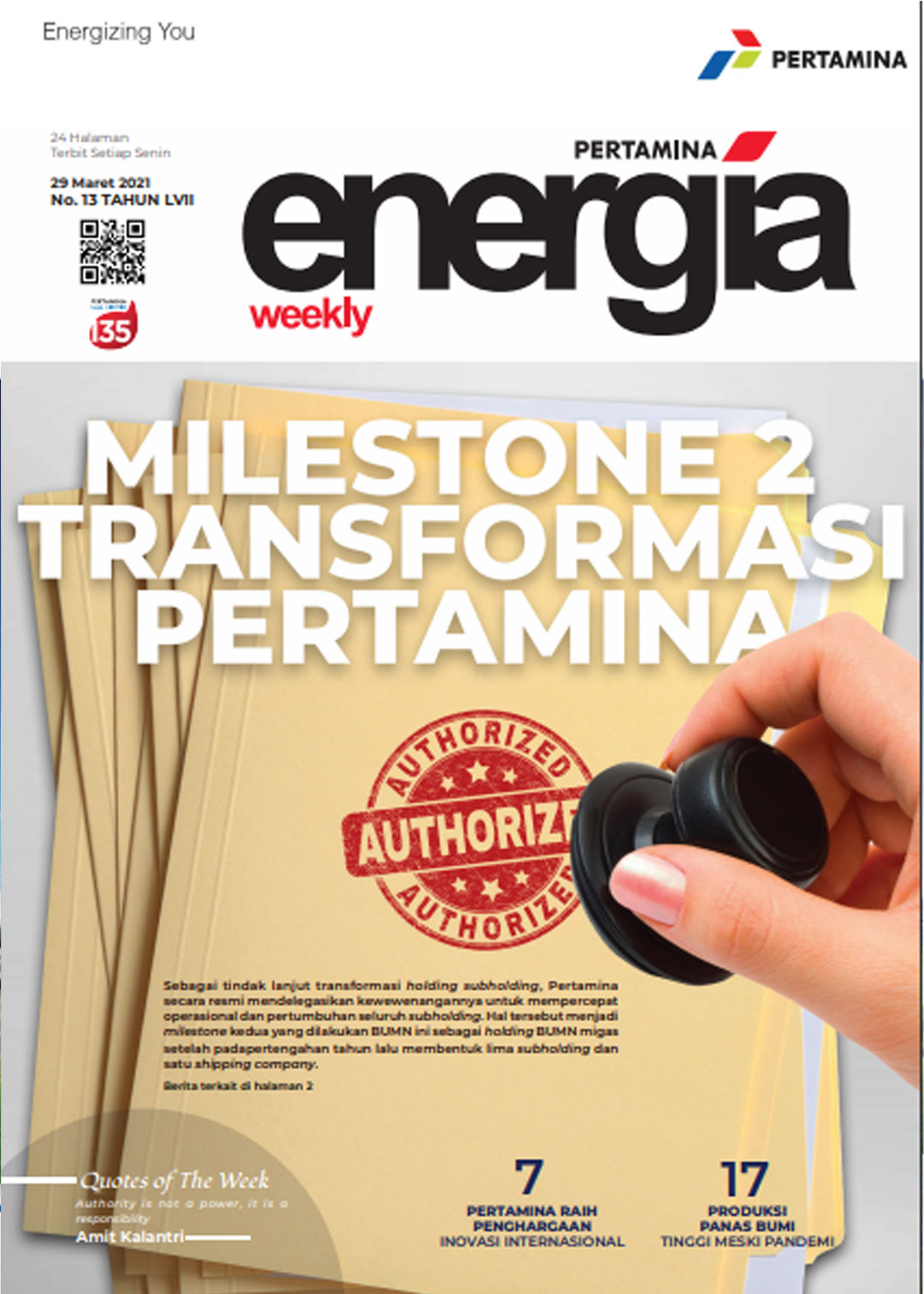 Energia Weekly 5th Week of March 2021