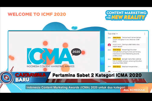 PT Pertamina Persero meraih Penghargaan Indonesia Content Marketing Awards (ICMA) 2020 untuk dua kategori yang berlangsung secara daring pada (9/9/2020). Penghargaan yang diraih adalah 1st Winner Owned Media kategori 'The Best Content Marketing Implementation in Automotive Category' dan 3rd Winner kategori 'The Best Inhouse Magazine in State Owned Enterprises Category'.